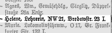 Adressbuch Berlin 1921 (Auszug)