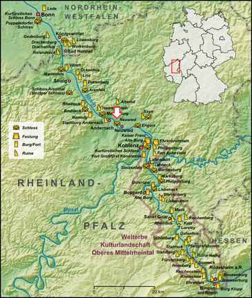 Karte des Mittelrheins von Lencer (https://commons.wikimedia.org/wiki/User:Lencer)