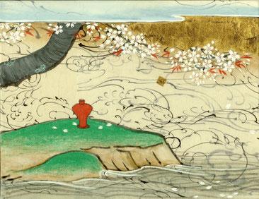「春昼」 和紙・岩絵具・墨 F0