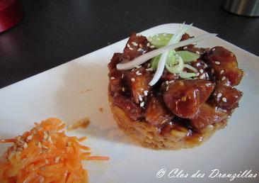 Yakitori au porc, sésame et petit épeautre