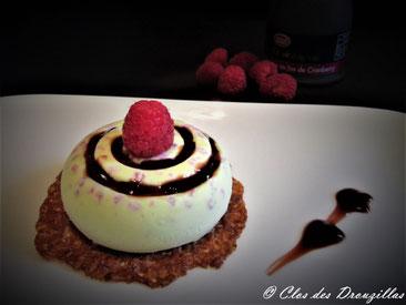 Semifreddo aux framboises et crème de vinaigre au jus de Cranberry