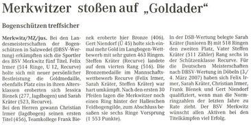 Artikel - LM FITA-Halle 2007 in Salzwedel - BSV Merkwitz