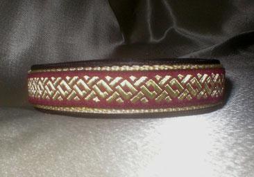 Halsband, Hund, Klickverschluss, 2,5cm breit, Gurtband beige, rotgoldene Borte