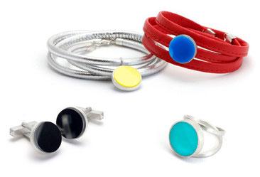 Schmuck Edelsteine - Armbänder, Manschettenknöpfe, Ring - farbiger Acht, Hämatit, 925 Silber - Kollektion 'Tint Deep'