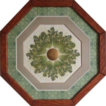 Blätterkreis - Siendruckmalerei auf Tapete