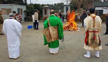 円泉寺にて正月のお焚き上げ