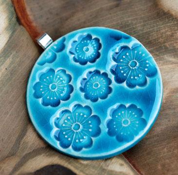 pendentif créateur faience bleu chinois