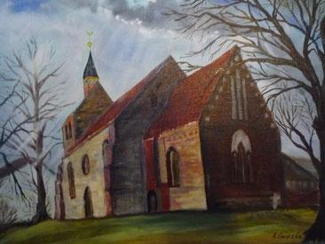 Evangelische Kirche in Dassow - Ölbild von Karin Gwiazda
