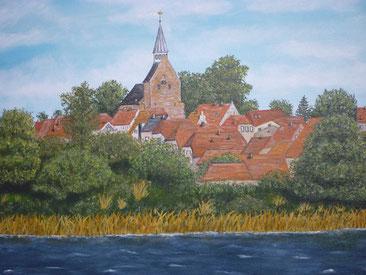 Blick auf Dassow - Ölbild von Ingrid Pietschmann