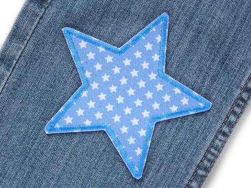 Bild: Stern Hosenflicken zum aufbügeln hellblau mit kleinen weißen Sternchen