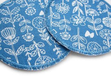 Bild: blaue Blumen Flicken zum aufbügeln, Stoffflicken Bügelflicken Hosenflicken für Kinder
