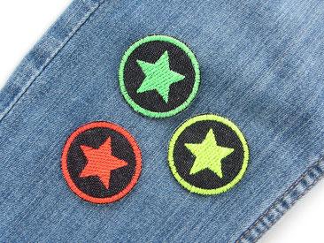 Bild: Mini Stern Flicken zum aufbügeln in Neon, Jeansflicken mit bunten Sternchen