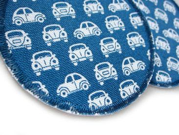 Bild: runde Hosenflicken zum aufbügeln für Kinder mit weißen VW Käfer auf blau, Bügelflicken Auto