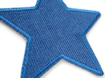 Bild: Stern Flicken Cord dunkelblau, Hosenflicken für Cordhosen zum aufbügeln