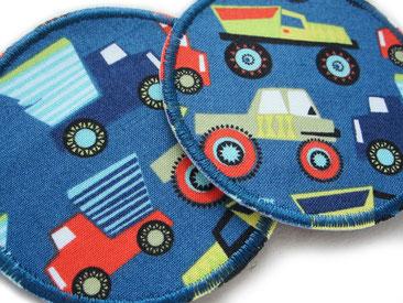 Bild: Auto Hosenflicken zum aufbügeln für Kinder, Bügelflicken mit Autos petrol