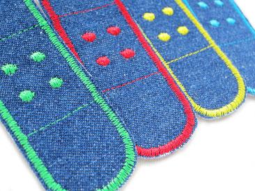 Bild: kleine Flicken zum aufbügeln für Jeans, Pflaster für die Hose