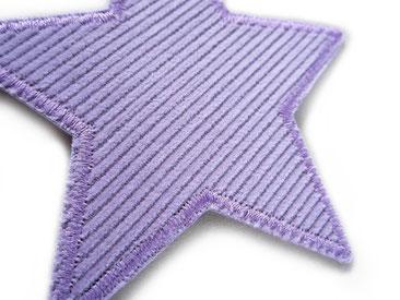 Bild: Cordflicken Stern flieder, Stern Aufnäher zum aufbügeln aus Cordstoff, Breitcord fliederfarben Flicken für Cordhose