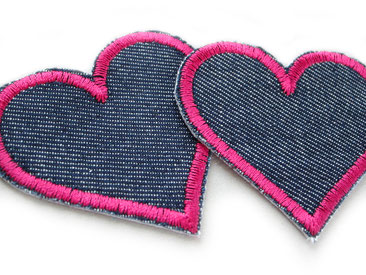 Bild: Herz Jeansflicken zum aufbügeln in pink, Retro Patches Flicken dunkelblau pink
