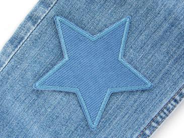 Bild: Stern Cordflicken jeansblau, schlichter Sternflicken aus Cordstoff zum aufbügeln für Cordhosen