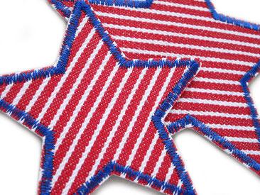 Bild: Stern Patches aus robustem Jeansstoff zum aufbügeln, rot gestreift