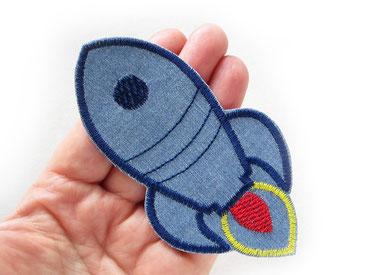 Bild: Rakete Raumschiff Bügelbild mittelblau Jeansflicken, Weltraum Rakete zum aufbügeln für Jungen