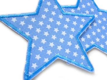 Bild: Stern Bügelbilder hellblau, mit Flicken nachhaltig reparieren