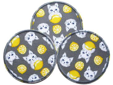 Bild: Flicken zum aufbügeln mit Katzen und Zitronen grau