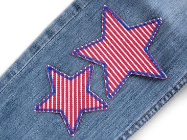 Bild: Stern Hosenflicken zum aufbügeln, rot-weiß gestreift Jeans Flicken