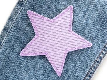 Bild: Cordflicken zum aufbügeln Stern fliederfarben, Hosenflicken Flicken für Hosenlöcher in Cordhosen