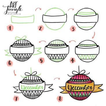 Schritt für Schritt Anleitung Weihnachtskugel howtodraw christmas bulb