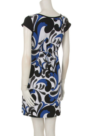 BLUE BLACK WHITE MATERNITY DRESS