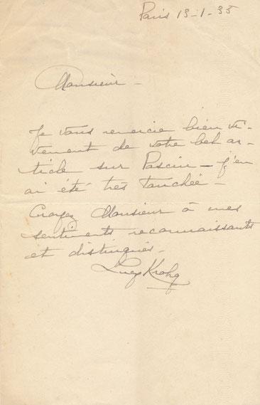 Lucie Krogh lettre autographe signée