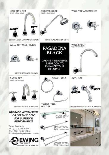 Pasadena Black 3 piece tapware and bathroom accessories