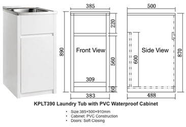KPLT390 Laundry Tub with PVC Waterproof Cabinet