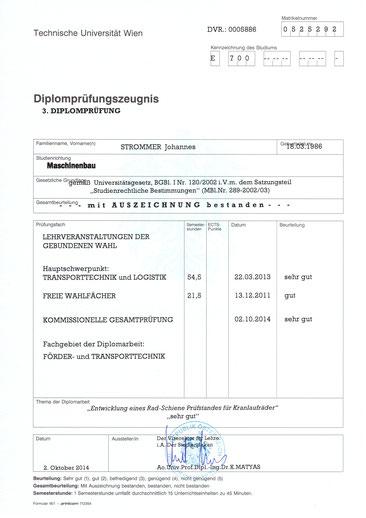 Zeugnis 3. Diplomprüfung von Johannes Strommer