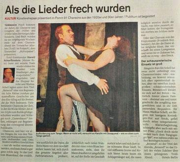 "Karolin Schell, Sängerin & Markus Schell, Pianist in Tornesch bei Hamburg - Theateraufführung ""Reizend"" 20er-Jahre Tango-Szene"