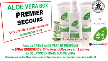 ALOE VERA BOX - BOITE DE PREMIER SECOURS : SPRAY EMERGENCY ALOE VERA GEL CONCENTRATE ET CREME ALOE ET PROPOLIS  AVEC LR Health and Beauty systems