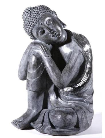 Buddha sitzend, grau, 35cm