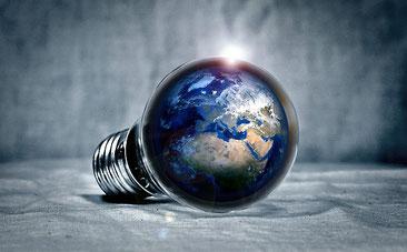 Erde in Glühbirne