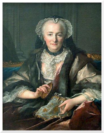 Gemälde von Jean Louis Tocqué - Madame Dangé faisant des noeuds (1753)