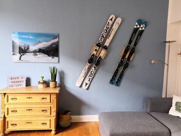 ATOMIC Fischer Wandhalterung Wandmontage Ski horizontal vertikal Ski Halterung Holz Eiche wall mount