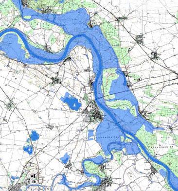 Hochwasserausdehung um und in der Umgebung von Barby