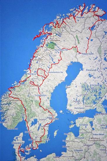 Reiseroute Skandinavien  09.06. - 27.09.2018