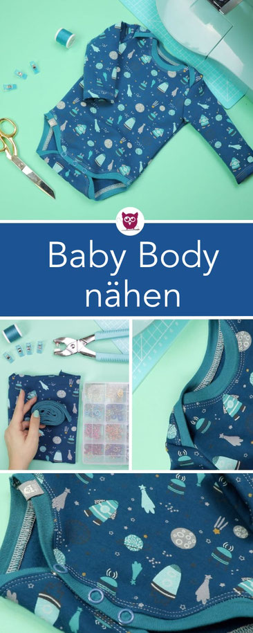 [Werbung] Nähanleitung Babybody mit langen Armen nach einem kostenlosen Schnittmuster / Freebook von Lybstes aus Jersey mit Bündchen – Nähen für Anfänger. Nähanleitung und Video von DIY Eule.