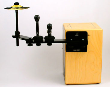 cajon sound bridge shaker jingle cymbal splash tools zusatzinstrument add on im sitzen spielen