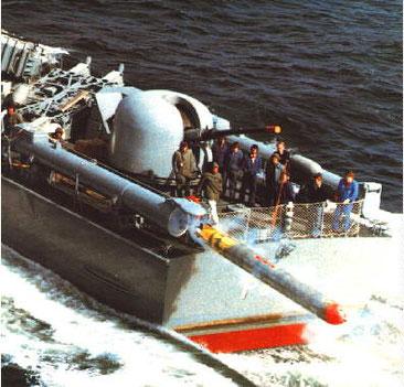 Schuss eines Torpedos SEAL von S-Boot Klasse 143 - Bild: Archiv Förderverein