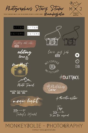 Story Sticker Set für Fotografen mit Fotografie Symbolen und Kamera pngs handgezeichnet von Monkeyjolie