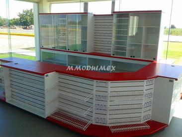Mueble mostrador o de caja para tienda de conveniencia o minisúper tipo Oxxo... El color de los muebles es a elección de los clientes.