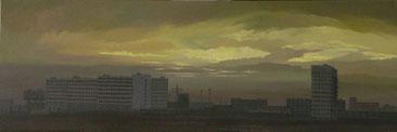 """Martin Guido Becker """"Trabantenstadt"""", 2008, Öl/Lwd, 40/120 cm"""