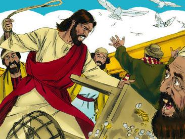 « Ses disciples se souvinrent qu'il est écrit : Le zèle de ta maison me dévore ». Jésus défend avec zèle le culte de Jéhovah et chasse les marchands du Temple en disant : « Enlevez cela d'ici, ne faites pas de la maison de mon Père une maison de commerce.